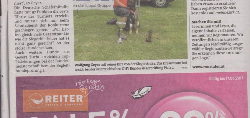 Erfolg Kira von der Siegerstrasse Zeitungsartikel Mein Bezirk