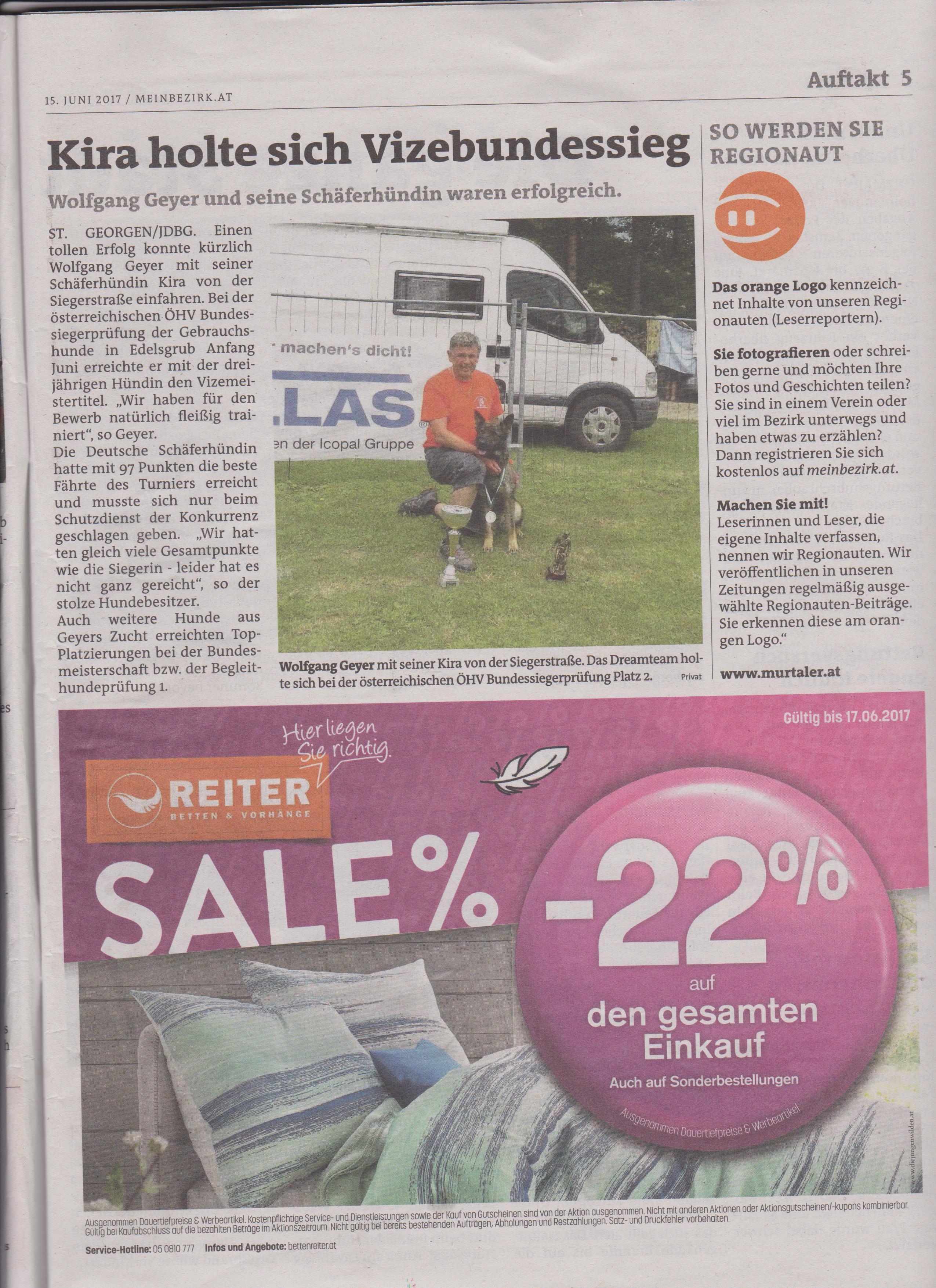 Erfolg Kira von der Siegerstrasse Zeitungsartikel Mein Bezirk 002