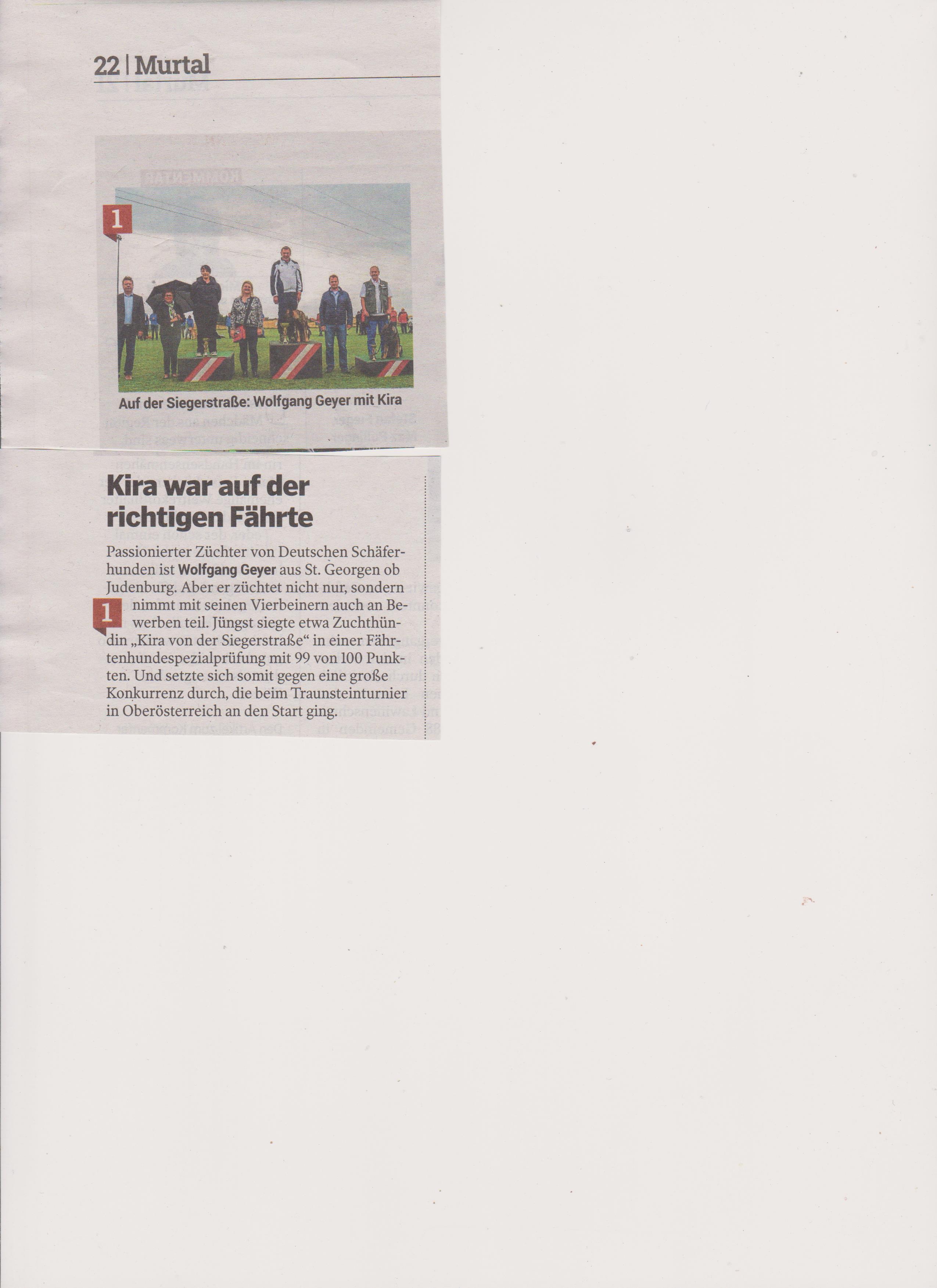 Erfolg Kira von der Siegerstrasse ZeitungsartikelKleine Zeitung 002