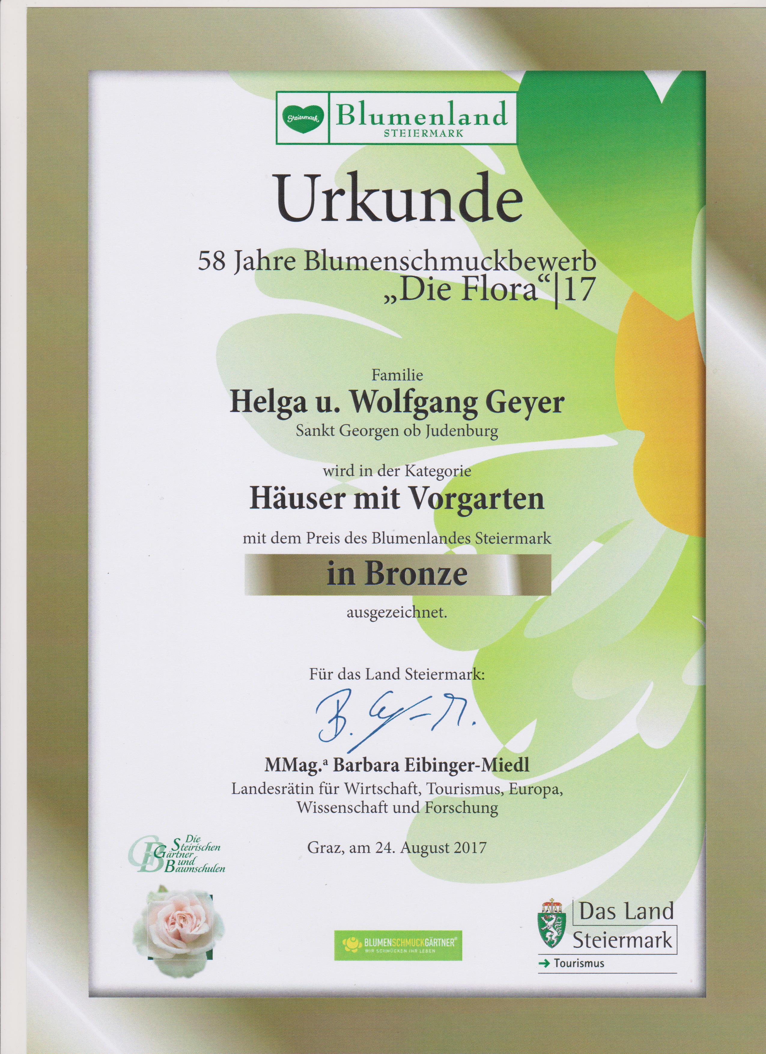 Urkunde Blumenschmuckbewerb die Flora 2017 Häuser mit Vorgarten 001