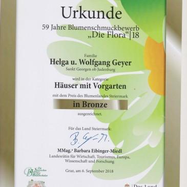 Haben heute die Urkunde erhalten BlumenschmuckbewerbFlora 2018 in Bronze zum 2 mal sind sehr stolz darauf